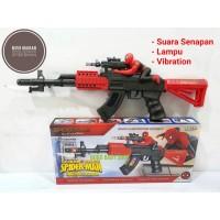 M159 Mainan Pistol Spiderman Senapan Laser + Lampu + Suara + Getaran
