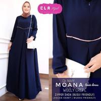 Baju Gamis Syari Wanita Terbaru Moana Maxy Basic Dress - navy
