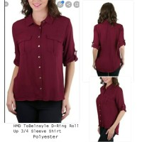 HMB ToBalnstyle Roll up 3/4 Sleeve Blouse