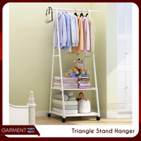 Triangle Stand Hanger Gantungan Rak Baju Tas Buku Serbaguna 4 Roda