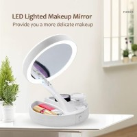 Makeup Lampu Cermin Pembesar Rias Dua sisi Kosmetik Mirror LED Lipat