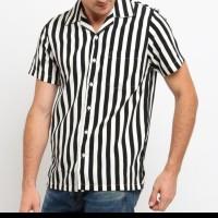 Mentli Kemeja Stripe Pria, Kris Casual Shirt Size XL saja