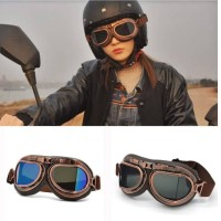 vintage Aviator pilot goggles kacamata motor helmet retro helm sepeda