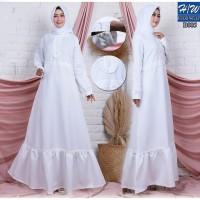 AGNES - H/W Baju Gamis Wanita Busana Muslim Wanita Gamis Putih B005