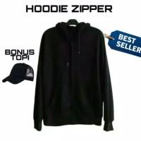 jaket hitam Hoodie ziipper cotton fleece premium