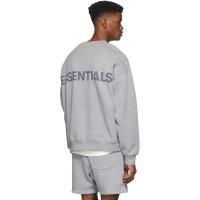 Fear Of God Essentials Reflective Crewneck Sweater Grey 100% Original