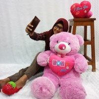 Boneka Teddy Bear Besar Love Warna Pink Tua