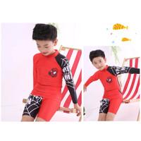 Baju Renang Anak Cowo Boy Spiderman Tangan Panjang Celana pendek Red