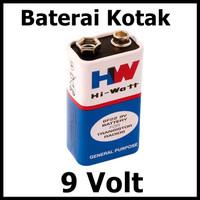 Baterai Kotak 9v HW Batere Hi Watt 1604E 6F22 Batre Battery