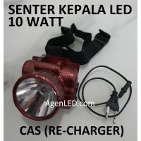 Lampu Senter Kepala LED 10W HEADLAMP COB Recharge Cas Charger 10 WATT