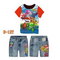 Baju Setelan Anak Import Super Wings 8-12T