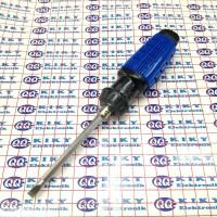obeng bolak balik 6x100mm gagang karet biru garis / 2 way 6mm x 4inch