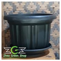 Pot Plastik Besar Ebony 60 Plus Tatakan / Pot Eboni 60 cm