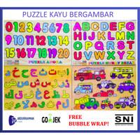 Mainan Edukasi Anak Puzzle Kayu Gambar Angka Huruf Hijaiyah Islami