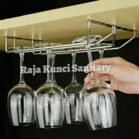 Glassbar 2baris/Gantungan gelas bar/cafe/Dapur stainless stell tebal