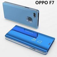 Flip Case Mirror Oppo F7 Clear view Standing Cover/Sarung