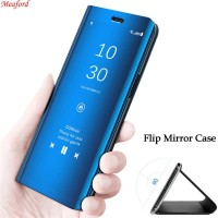 Flip Case Mirror Samsung A70 Clear view Standing Cover/Sarung