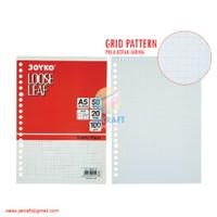 Kertas Binder Note Loose Leaf A5 isi 50 Putih Grid Tebal 20 Lubang