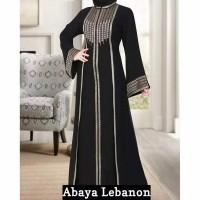 Abaya Gamis Arab Bordir Lebanon Busui Resleting Depan Original DABShop