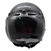 Paket Helm cargloss Retro Black Doff + Visor Bogo Cembung BG-06 Smoke