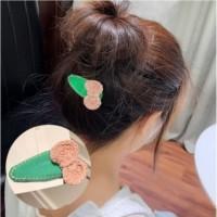 Jepitan Rambut Korea Handmade Woven green bow dusty pink
