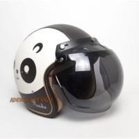 Helm Bogo SNI Karakter Panda Hitam Full Kulit Retro Klasik