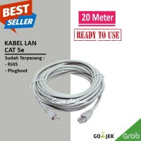 KABEL LAN UTP CAT 5e 20 METER INCLUDE RJ45 PLUGBOOT SIAP PAKAI