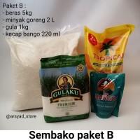 Sembako Paket B : beras premium 5 kg, minyak goreng 2L, kecap, gula