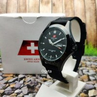 Swiss Army Analog Jam Tangan Pria Hitam Full Black 1880G Original