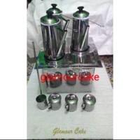 dandang kotak polos thai tea set 3 teko + 3 mug free hand mixer