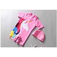 Baju Renang Unicorn Sama Topi Swimsuit Anak Bayi Cewek Import 1-5y