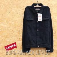 Jaket Jeans Pria Denim Levis Trucker Jacket Black Hitam Jins Original