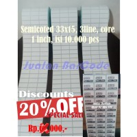 LABEL BARCODE 33 X 15 (3 LINE) KERTAS STICKER LABEL SEMICOATED 33x15