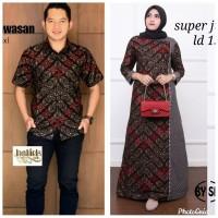 Baju couple dress gamis super jumbo ld 140 batik sarimbit kemeja pria