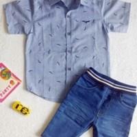 Baju setelan kemeja anak laki laki kode JJ0283