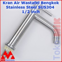 KERAN KRAN AIR WASTAFEL BENGKOK STAINLESS STEEL SUS 304 1/2 IN