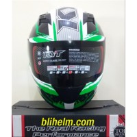 Dijual helm KYT R10 -2 WHITE BLACK GREEN FLUO Berkualitas