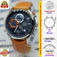 Alba Quartz AM3517X1 Chronograph Brown Leather Jam Tangan Pria AM3517