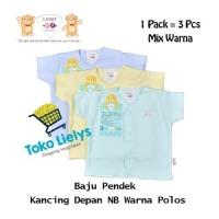 3 PCS Libby Baju Pendek Anak Bayi Kancing Depan NB MIX Warna Polos