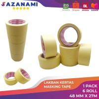Lakban Kertas Masking Tape 2 48mm x 27m Sazanami Tape isolasi kertas