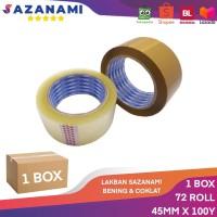 """1 BOX SAZANAMI ZN LAKBAN BENING 2"""" INCH X 100Y 45MM ISOLASI ZN 72 ROL - Cokelat"""