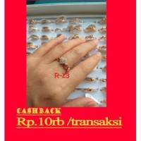 cincin wanita rhodium antikarat rose gold import motif love ready
