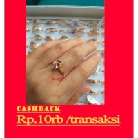 cincin wanita rhodium antikarat rose gold import motif ready stok