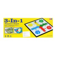 Mainan Anak 3 in 1 Magnetic Board Games ludo Halma snake ladder catur