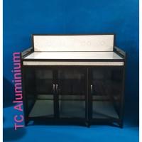 Meja Serbaguna Keramik Super 128x53x90 Cm Aluminium Coklat