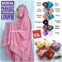 Mukena Travel Dewasa Loufie Jumbo Parasut Traveling Cantik Murah