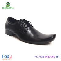 Sepatu pantofel pria lancip model tali bahan kulit asli sepatu kerja