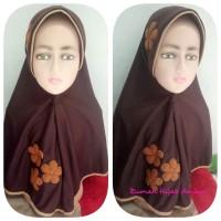 Jilbab Anak Kaos Super Sekolah Vania Bunga 3 Coklat Pramuka