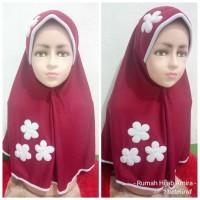 Jilbab Anak Kaos Super Sekolah Vania Bunga 3 Maroon