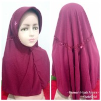 Jilbab Anak Kaos Super Sekolah Serut Maroon SD